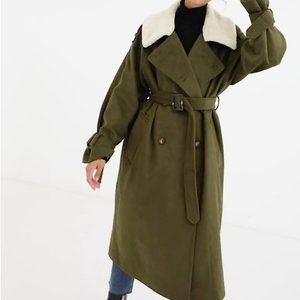 NWT ASOS Borg Collared Olive Belted Coat, 2